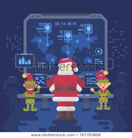 Santa Claus and his elves at Santa's control room looking at a b Stock photo © IvanDubovik