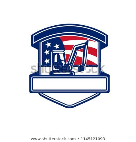 Excavation Services USA Flag Badge  Stock photo © patrimonio
