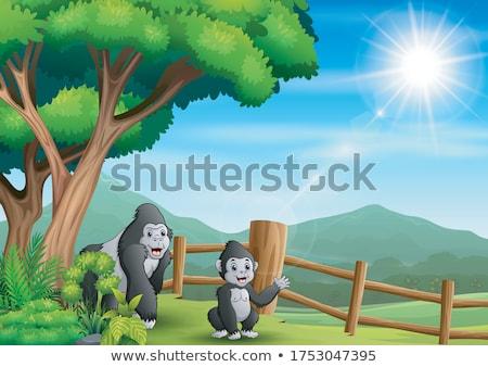 Desenho Animado Gorila Arvore Ilustracao Palmeira