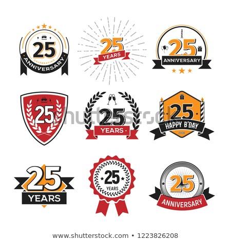 25 twintig vijf aantal Rood vector Stockfoto © blaskorizov