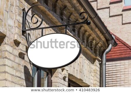 Boş oval imzalamak eski tuğla duvar bo Stok fotoğraf © boggy
