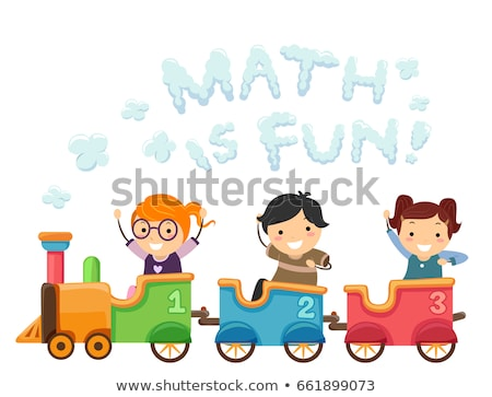 girls riding a train with math number stock photo © bluering