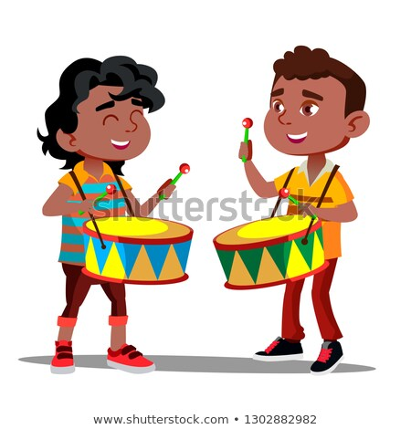 two little afro american boys beating the drums and dancing vector isolated illustration stock photo © pikepicture