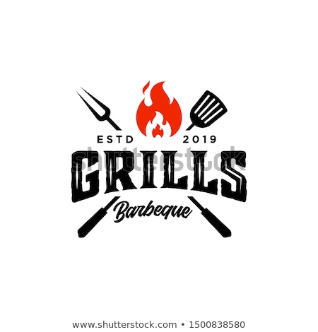 hot barbeque vector icons with burning badges stock photo © robuart