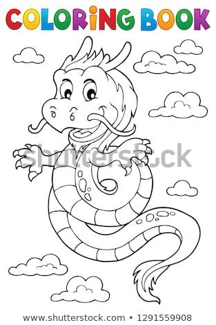 Livro para colorir dragão chinês tópico livro arte nuvem Foto stock © clairev