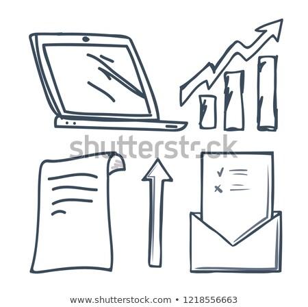 Iroda irat nyilak szett vektor laptop Stock fotó © robuart