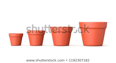 increasing size empty flowerpot on white stock photo © make