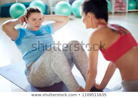 Rechoncho nina ejercicio ilustración mujer deporte Foto stock © bluering