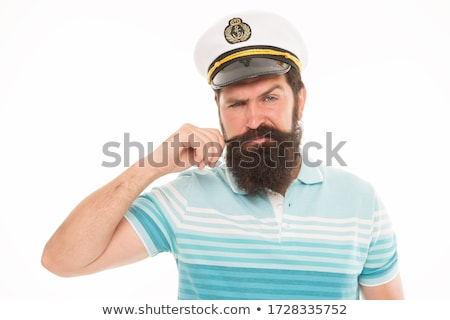 Long-haired captain of the ship in uniform and cap isolated on white background. Vector cartoon clos Stock photo © Lady-Luck