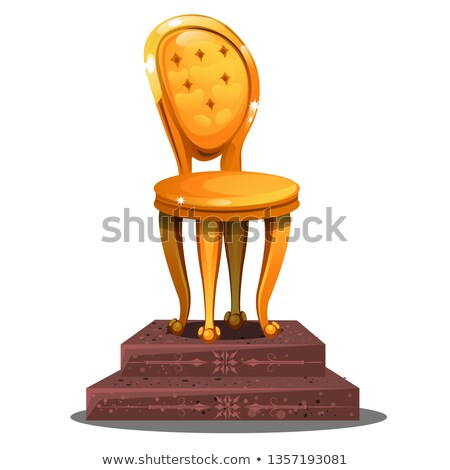 Golden statuette in the form of a vintage chair on a pedestal isolated on white background. Vector c stock photo © Lady-Luck