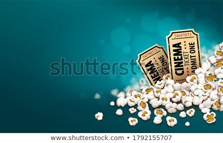 gold cinema tickets in popcorn online movie banner stock photo © loopall