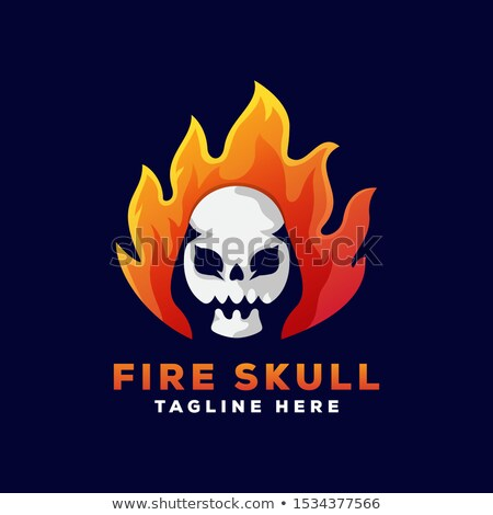 skull flames front face logo vector illustration stock photo © vicasso