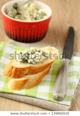 taze · ekmek · rokfor · yeşil · bıçak - stok fotoğraf © Melnyk