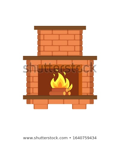 Fireplace Paved with Bricks Shelf for Items Icon Stock photo © robuart