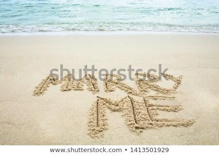 empreinte · carbone · écrit · sable · plage · texture · fond - photo stock © andreypopov