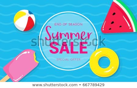 Verão venda cartaz modelo de design jangada bola de praia Foto stock © articular