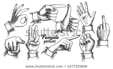 Wielokrotność kobiet gest zestaw wektora Zdjęcia stock © pikepicture