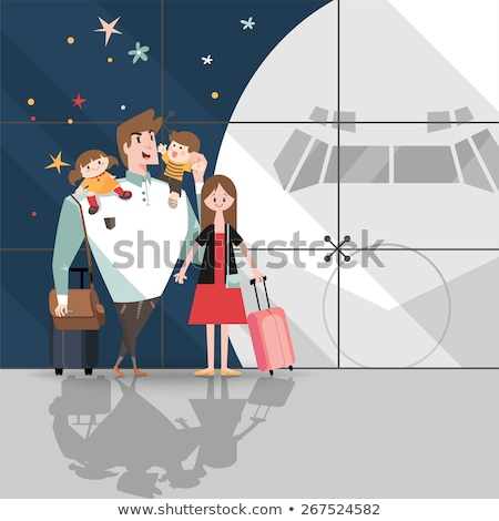 smiling travelers arrive family in airport vector stock photo © robuart