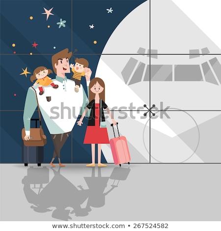 笑みを浮かべて 家族 空港 ベクトル 母親 娘 ストックフォト © robuart