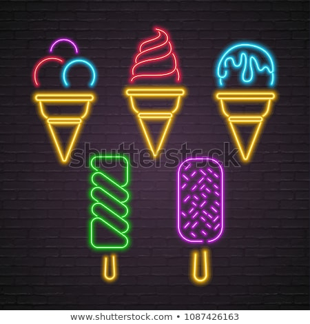 Set of Glow Signboards with Different Ice Cream Stock photo © lissantee