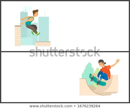 karikatür · pateni · erkek · gülümseme · spor · çocuk - stok fotoğraf © robuart