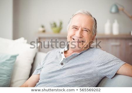 フロント 表示 幸せ シニア 男 座って ストックフォト © wavebreak_media