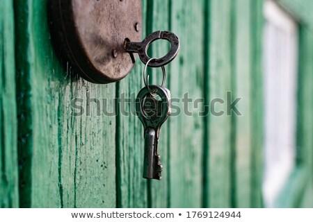 rozsdás · lakat · öreg · fából · készült · ajtó · ház - stock fotó © nuttakit