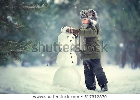 kinderen · sneeuwpop · meisje · jongen - stockfoto © cienpies