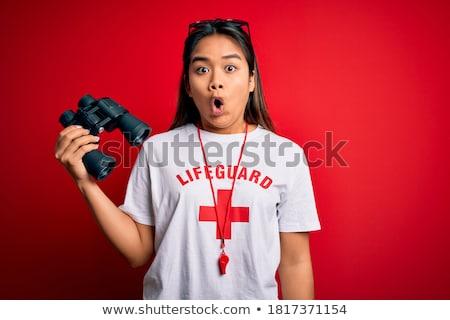 Scioccato paura rosso tshirt emozione Foto d'archivio © dolgachov