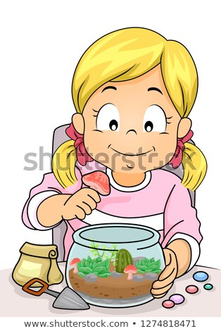 Kid Girl Decorate Terrarium Illustration Stock photo © lenm