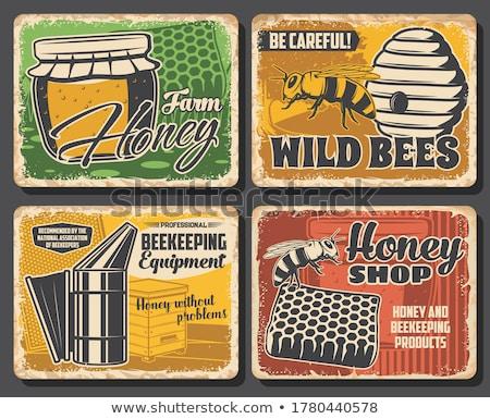 Arı ahşap çiftlik ürün poster Stok fotoğraf © pikepicture