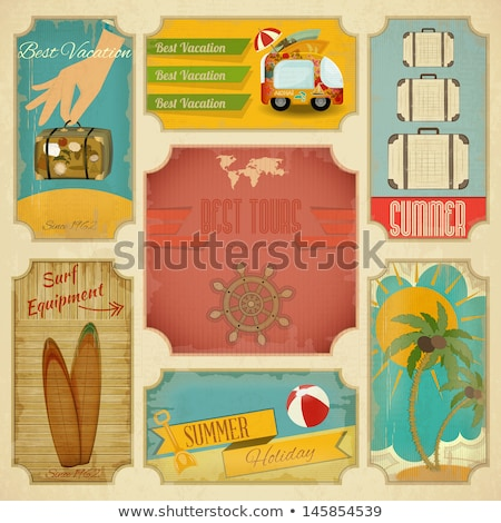 Summer Travel Suitcase On Wheels Poster Vector Stock photo © pikepicture