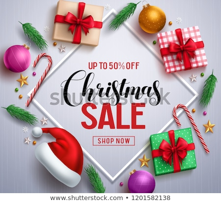 Karácsony vásár promóciós poszter árengedmény szalag Stock fotó © robuart
