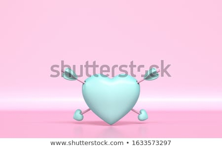 Pastel green heart with two Cupid's arrows 3D Stock photo © djmilic