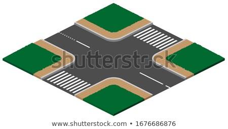 Kruispunt kruispunt voetganger 3D isometrische icon Stockfoto © orensila