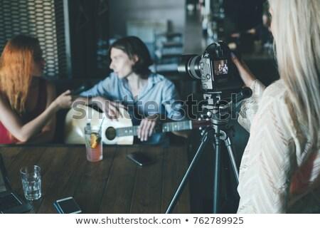 Video görüşme müzisyen Internet sohbet göstermek Stok fotoğraf © jossdiim