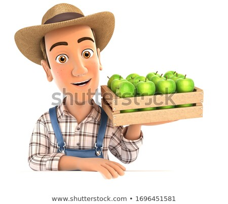 3D rolnik skrzynia jabłka Zdjęcia stock © 3dmask