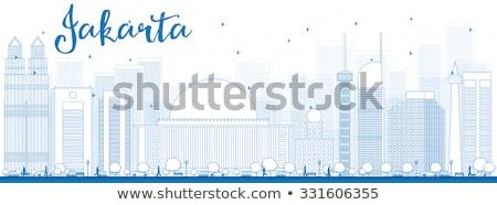Jakarta Skyline bleu voyage d'affaires tourisme Photo stock © ShustrikS