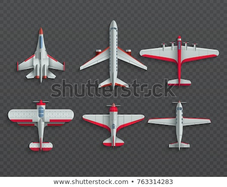 Airplanes and military aircraft top view set. 3d airliner and fighter vector icons. Airplane top vie Stock photo © designer_things