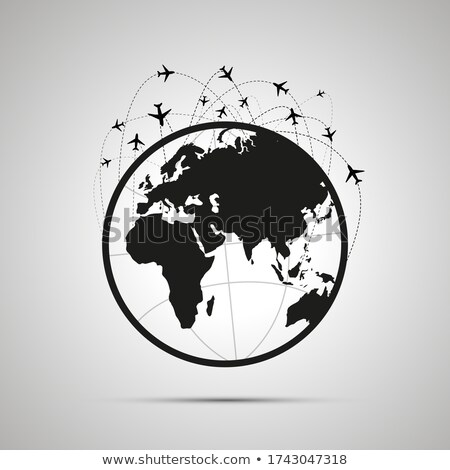 A lot of plane traces with planes in the sky above world map on globe, simple black icon Stock photo © evgeny89