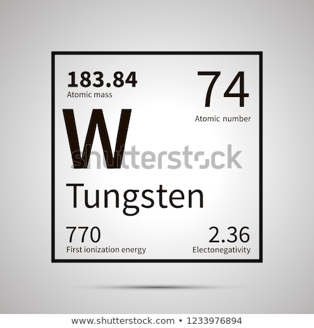 Tungsten chemical element with first ionization energy, atomic mass and electronegativity values ,si Stock photo © evgeny89