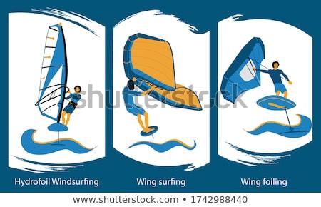Tenger szörf gyönyörű kék hullámok tengerpart Stock fotó © fyletto