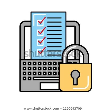 Online alışveriş dizüstü bilgisayar kontrol liste güvenlik Stok fotoğraf © yupiramos