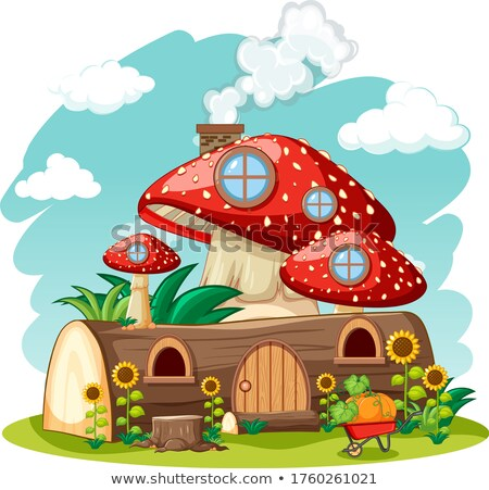 Timber mushroom house and in the garden cartoon style on sky bac Stock photo © bluering
