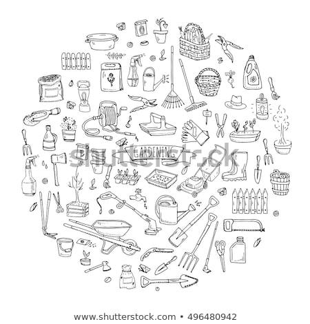 El tırmık kürek araçları ikon vektör Stok fotoğraf © pikepicture