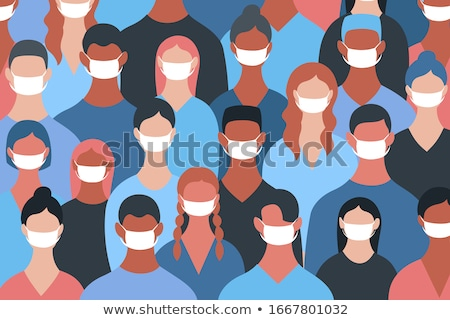 Vector portrait of infected man in face medical mask, carrier virus male, spreading infection Stock photo © robuart