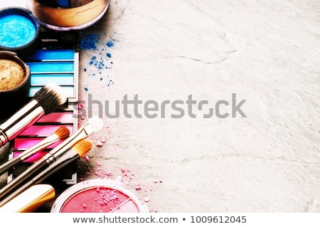 Crushed pink eye shadow and make-up brush Stock photo © goir
