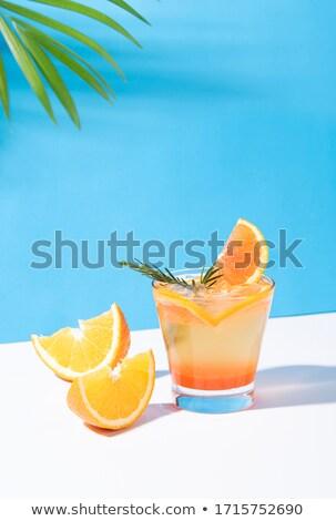 Blauw cocktail orange slice martini glas glas Stockfoto © aladin66