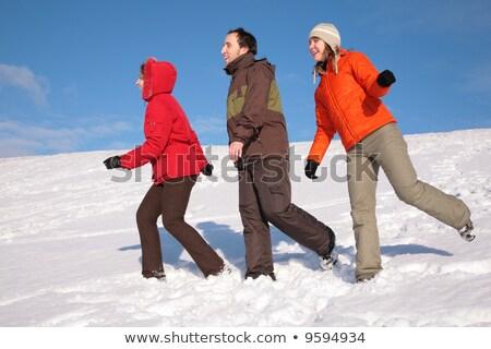három · barátok · séta · hó · domboldal · szem - stock fotó © Paha_L