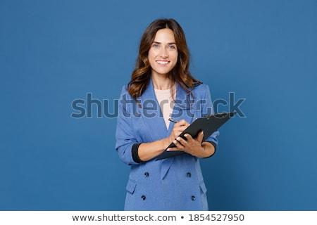 ernstig · zwarte · zakenvrouw · schrijven · mooie - stockfoto © darrinhenry